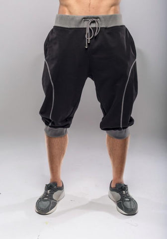 Parkour Shorts med fede detaljer, sort m. grå - parkourshop