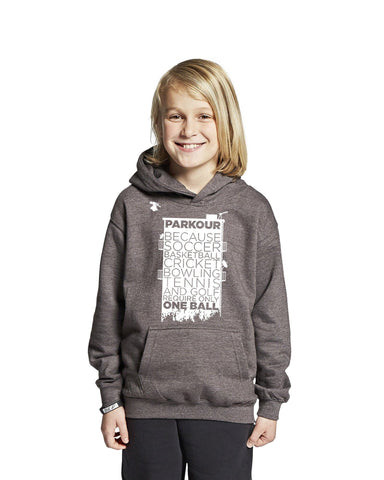 """FUN PARKOUR STATEMENT"" Hoodie, Mørkegrå"