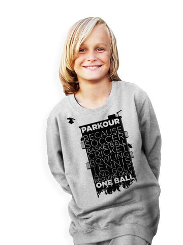 """Parkour takes..."" bluse, Grå m/ sort - parkourshop"