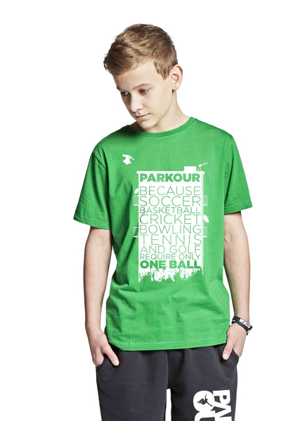 Parkour Takes BALLS T-shirt, grøn - parkourshop