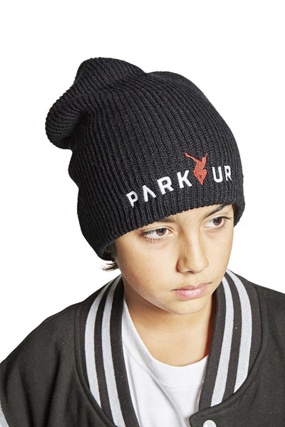 KNIT BEENIE W/ PARKOUR LOGO, SORT - parkourshop