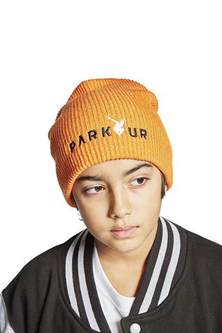 Strikket hue med PARKOUR logo, orange - parkourshop