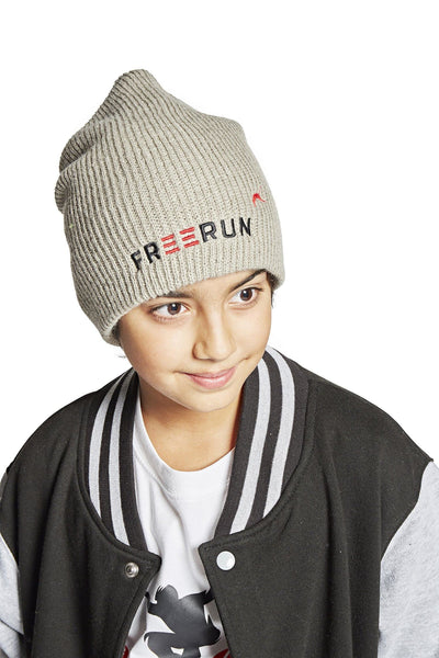 KNIT BEENIE W/ FREERUN LOGO, LIGHT GREY - parkourshop