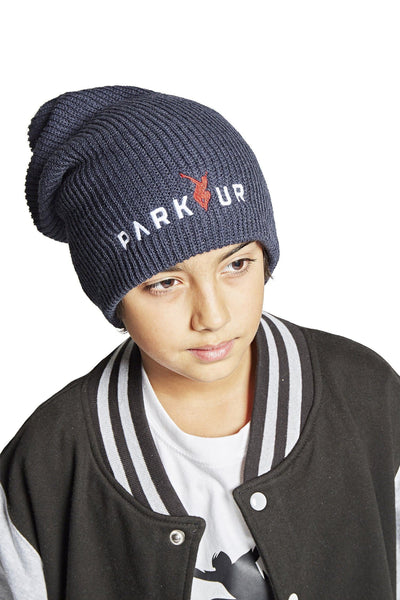 KNIT BEENIE W/ PARKOUR LOGO, NAVY BLÅ - parkourshop