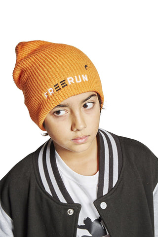 Strikket hue med FREERUN logo, orange - Parkourshoppen