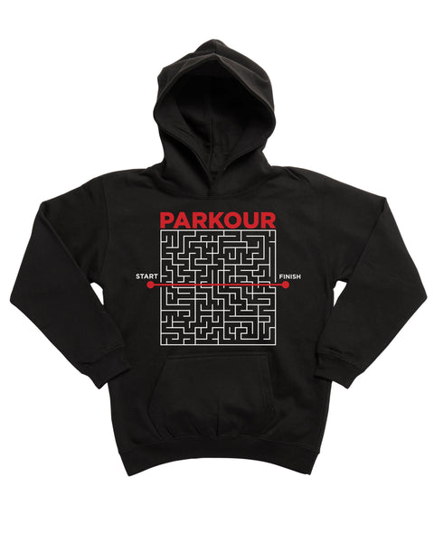 "PARKOUR ""Fra A til B"" Hoodie, sort/rød - parkourshop"