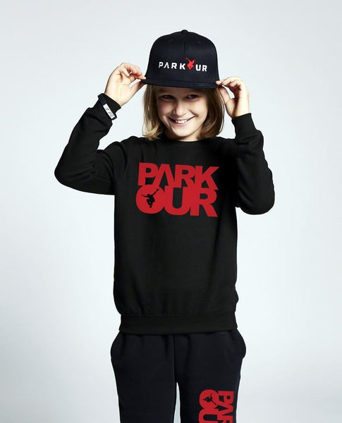 Bluse med logo, sort/rød - parkourshop