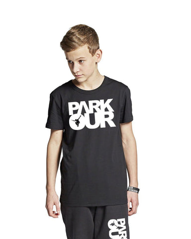 T-shirt med box logo, sort/hvid - parkourshop