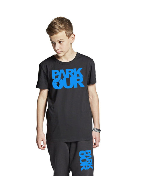PARKOUR TEE W/BOX LOGO, SORT / BLÅ - parkourshop