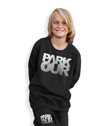 Parkour bluse m/box logo, sort/sølv - parkourshop