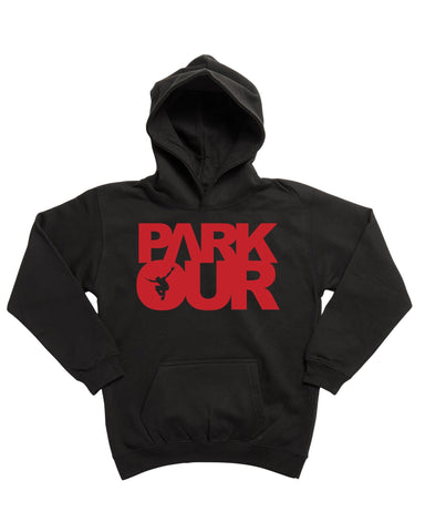 Hoodie med box logo, sort/rød - parkourshop