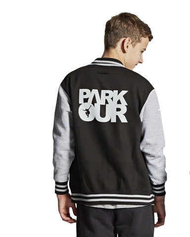 YOUNG PARKOUR VARSITY JAKKE W/LOGO, SORT - parkourshop