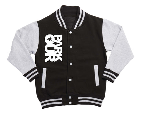 KIDS PARKOUR VARSITY CONTRAST JAKKE W/LOGO, SORT - parkourshop
