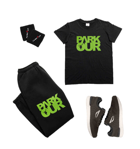 Parkour startpakke - Medium ( sort med grøn ) - Parkourshoppen