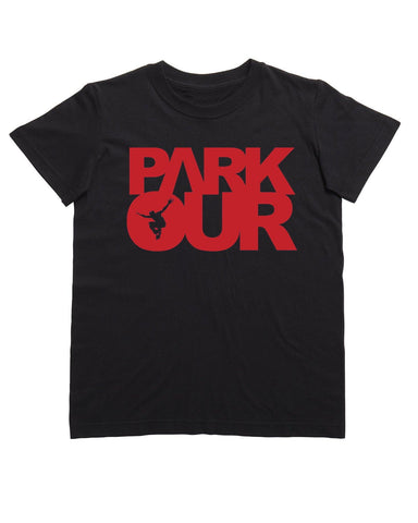 TEE W/BOX LOGO, SORT / RØD - parkourshop