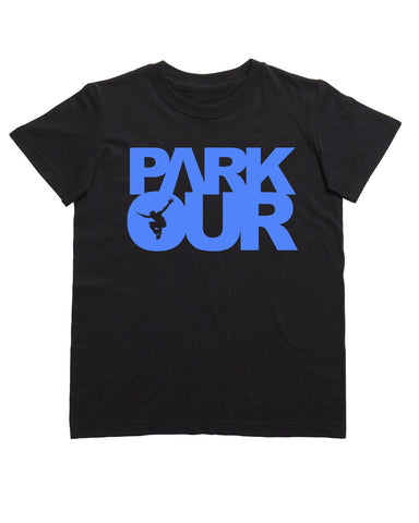 T-shirt med box logo, sort/blå - Parkourshoppen