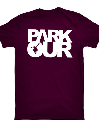 PARKOUR TEE W/BOX LOGO, BOURGOGNE / HVID - parkourshop