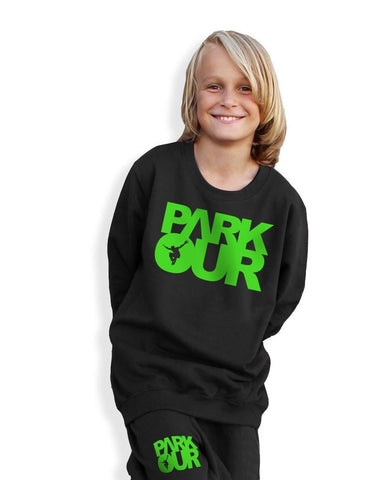 Bluse med logo, sort/grøn - parkourshop