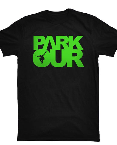 T-shirt med box logo, sort/grøn - parkourshop