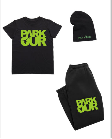 Parkour startpakke - Small ( sort med grøn ) - parkourshop