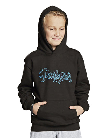 Hoodie med graffiti, sort m/ blå - parkourshop