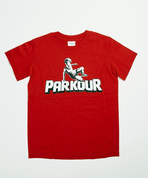 Smart parkour t-shirt, rød m. parkour udøver - Parkourshoppen