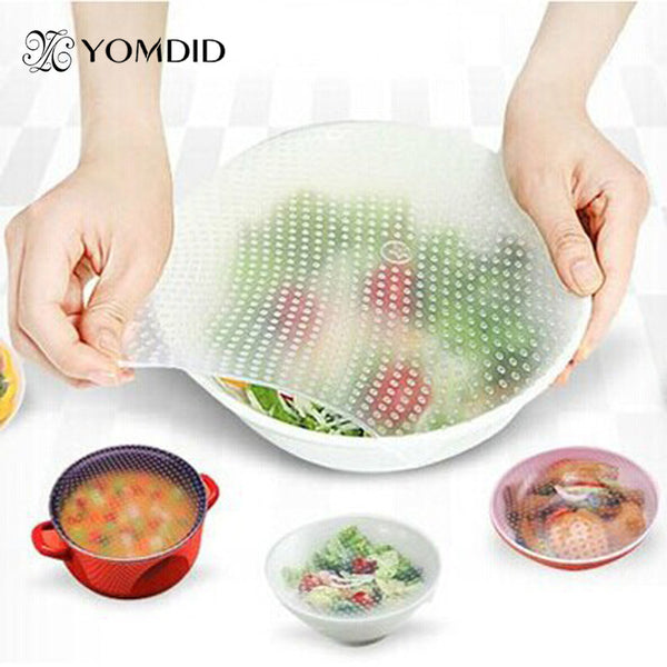 4Pcs/Lot Food Fresh Keeping Saran Wrap Multifunctional Reusable Silicone Food Wrap Seal Cover Lid Stretch Envoltura De Alimentos