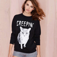 EAST KNITTING H178 2017 New  Cat Letter Print Sweatshirt O-neck Long-sleeve Pullover Black Sweatshirt