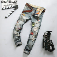 European American Style fashion brand cotton men jeans luxury Men's casual denim trousers hole zipper Slim blue jeans for men