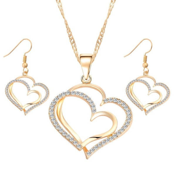 17KM Romantic Heart Pattern Crystal Earrings Necklace Set Silver Color Chain Jewelry Sets Wedding Jewelry Valentine's Gift