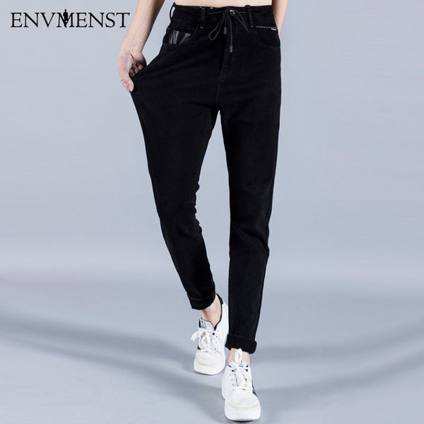 Envmenst 2017 New Brand Clothing Men's Jeans High Stretch Fashion Drawstring Street wear Black Denim Pants Men Slim Fit Jeans
