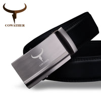 COWATHER luxury fashion mens belt top cow genuine leather automatic alloy buckle belts for men ceinture homme original brand