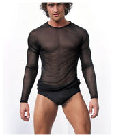 High Quality Men Long Sleeve Sexy Transparent Shirt Mesh Gauze Sexy underwear Gay Sexy Sleepwear Free Shipping