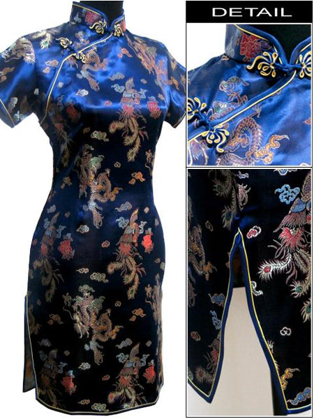 New Arrival Chinese Female Qipao Short Style Cheongsam Women Traditional Silk Satin Dress Dragon&Phenix Size S M L XL XXL WC010