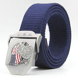 Men's Western Sports Belts Canvas Belt Outdoor Tactical Belt Smooth Alloy Buckle + Leather + Canvas Straps cintos femininos
