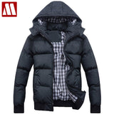 Best selling new fashion casual winter jacket for men cotton-padded hooded men's jackets deep green/light grey Asia S-XXXL D316