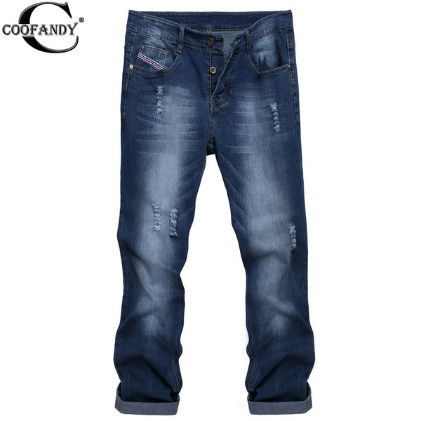 COOFANDY Men's Casual Denim Jeans Frayed Slim Ripped Pants Long Casual Durable Jeans Washed Dark Blue