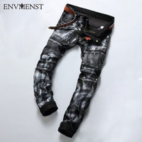 Envmenst 2017 Men's Fashion Brand Designer Ripped Biker Jeans Men Distressed Moto Denim Joggers Washed Pleated Jean Pants