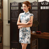 New Summer Silk Satin Cheongsam Chinese Traditional Dress Vestido Sleeveless Female High Neck Qipao Unique Party Evening Dresses