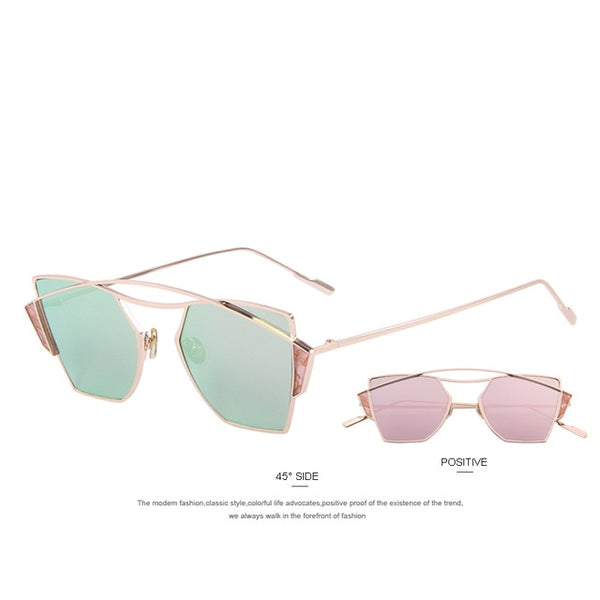 MERRY'S 2016 New WomenClassic Brand Designer Twin-Beams Sunglasses Vintage Sunglasses Coating Mirror Flat Panel Lens S'8036