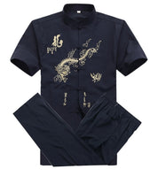 Chinese Men Cotton Kung Fu Suit Embroidery  Wu Shu Uniform Tai Chi Clothing Short Sleeve Shirt+Pant M L XL XXL XXXL MS013