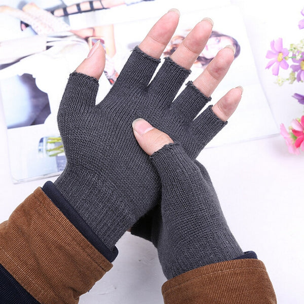 1 Pair Unisex Men Women Knitted Stretch Elastic Warm Half Finger Fingerless Gloves for Winter