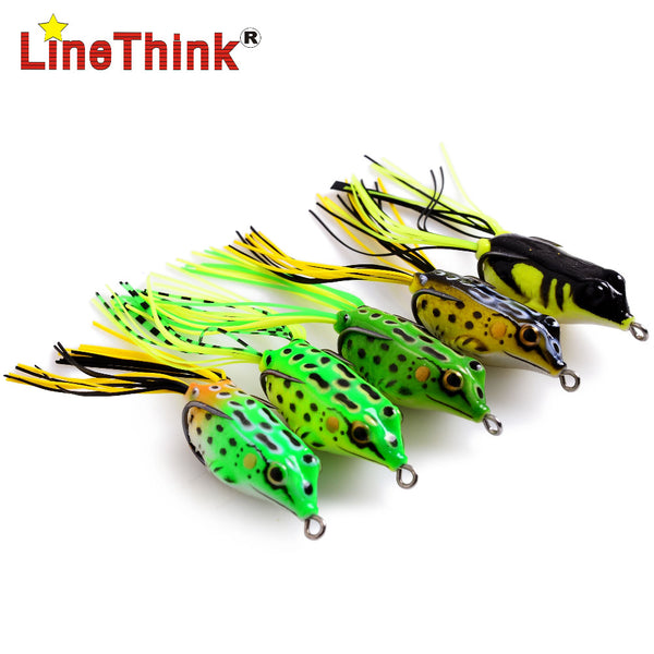 5PCS/LOT 5 Different Color 3D Floating Skirt Frog Fishing Lure Double Hook 6.2g/4.5cm Free Shipping