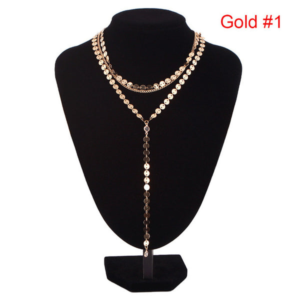 Sexy Multilayer Sequins Rhinestone Tassel Pendants Chain Necklace Choker Collar Women Jewelry #235641