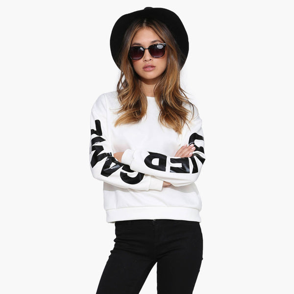 EAST KNITTING H177 2017 Brand Fashion White Crewneck Sweatshirts GAME OVER Letters Printed Sleeves Pullover Tracksuit