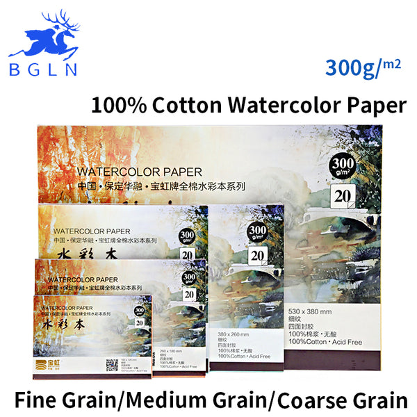 Bgln 300g/m2 Professional Watercolor Paper 20Sheets Hand Painted Water-soluble Book Creative Office school supplies