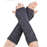 Fashion Female Gloves Hand Knitted Half Fingers Warmer Winter Gloves Long Gloves for Women Female Arm Warmers