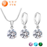 19 Colors Promotion New Silver Color Necklace Stud Earring Jewelry Set for Brides Bridal Bridesmaid Wedding Jewelry Sets JS0003