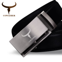 COWATHER Newest arrival cow genuine leather luxury belts for men good automatic alloy buckle belts ceinture homme original brand