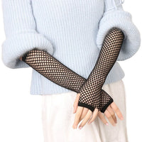 2017 Hot Sexy Women Gloves Hollow Out Holes Sexy Punk Goth Lady Disco Dance Costume Summer Party Fingerless Mesh Fishnet Gloves